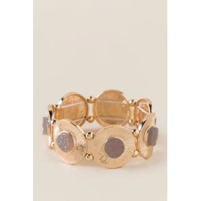 Kaileigh Druzy Circle Stretch Bracelet - Gray