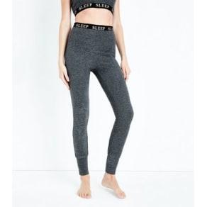 Dark Grey Sleep Print Pyjama Leggings New Look