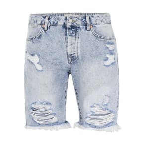 Mens Light Blue Slim Fit Ripped Denim Shorts, Blue