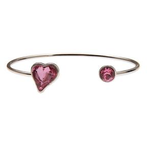 Silver Heart & Round Rose Stones Bracelet