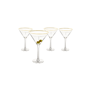 Cathy's Concepts Set of 4 Gold Rimmed Monogram Martini Glasses, Size One Size - Metallic