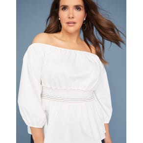 Lane Bryant Women's Smocked-Waist Off-The-Shoulder Top 10/12 White