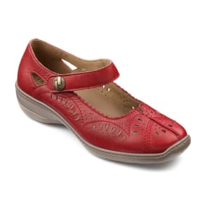 Hotter Red Leather 'Chile' Mid Heel Wide Fit Mary Janes