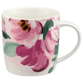 Cath Kidston Audrey Paintbox Flowers Mug, 350ml, Light Pink