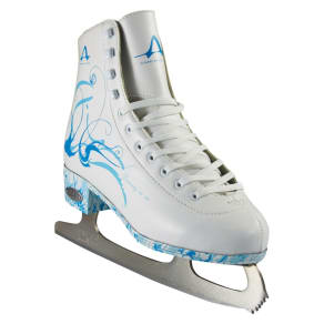 American Ladies Figure Skate - White With Turquoise (7), Variation Parent
