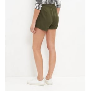 Khaki Embroidered Pom Pom Trim Shorts New Look