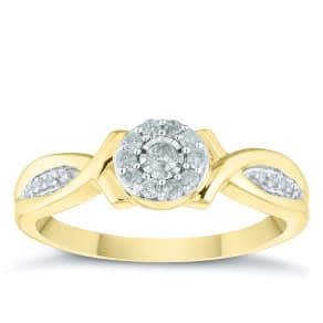 9ct Yellow Gold 0.17ct Diamond Round Cluster Ring