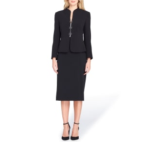 Tahari Asl Collarless 3 Hook & Eye Corset Skirt Suit