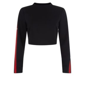 Parisian Black Stripe Side Popper Long Sleeve Crop Top New Look