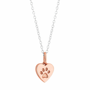 Simply Silver - Sterling Silver Paw Print Heart Necklace