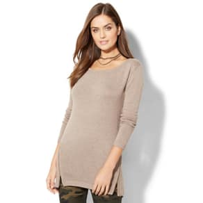 Empire Side-Zip Tunic Sweater