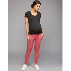 Under Belly French Terry Maternity Jogger Pants- Mauvewood