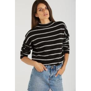 Cotton on Women - Ashlee Sweater Tunic - Black / Grey Stripe