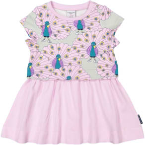 Peacock Print Baby Dress - Purple Quality Kids Boys Girls