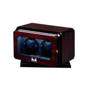 Volta Lockable Microfiber Suede-Lined Led-Lit 2-Watch Winder With Lcd Screen and Rotating Base