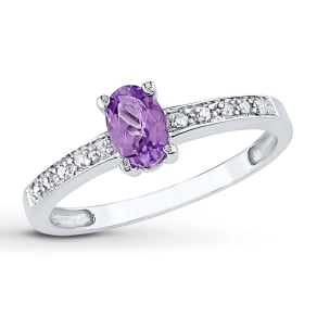 Lab-Created Alexandrite 1/20 Ct Tw Diamonds 10k White Gold Ring