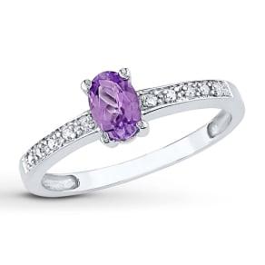 Lab-Created Alexandrite 1/20 Ct Tw Diamonds 10k White Gold Ring