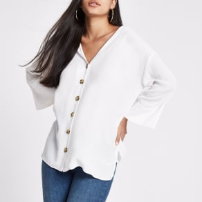 Womens White Button Front Bar Back Blouse