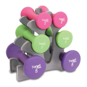 Tone Fitness Sdnhs-Tn020 20 Lb. Dumbbell Set With Rack