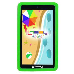 Linsay 7 Quad Ips Screen 1280x800 8gb Dual Camera Android Tablet Bundle With Kids Defender Case - Green, Black