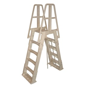 Premium A-Frame Above Ground Pool Ladder - Taupe, Brown