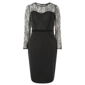 Womens Black Lace Velvet Pencil Dress