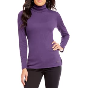 Jones New York Rib Knit Jersey Long Sleeve Side-Slit Hem Turtleneck Top