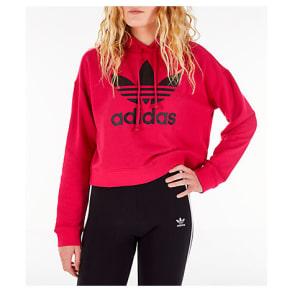 Adidas Women's Originals Leoflage Crop Hoodie, Pink