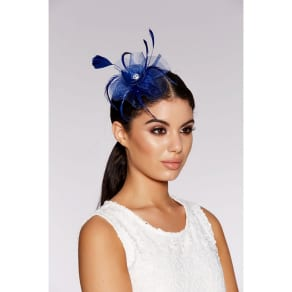 Quiz - Blue Jewel Feather Fascinator