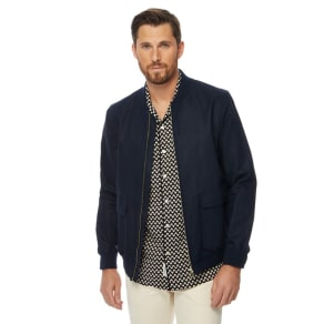 Hammond & Co. by Patrick Grant - Big And Tall Navy Linen Blend 'Tropez' Regular Fit Bomber Jacket