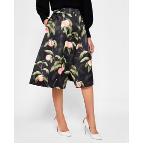 Peach Blossom Wrap Skirt Black