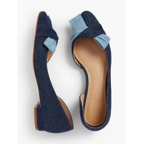 Talbots: Edison D'Orsay Bow Flats: Denim