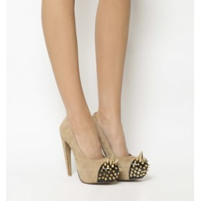 Jeffrey Campbell Battle Spike High Heel Nude Suede Gold Spikes