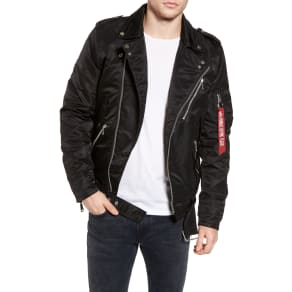 Men's Alpha Industries Outlaw Biker Jacket, Size Small - Black