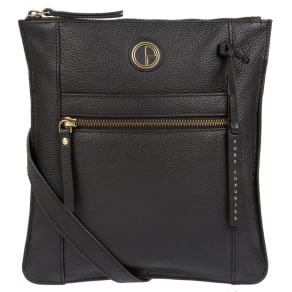 Pure Luxuries London - Black 'Topaz' Genuine Leather Cross-Body Bag