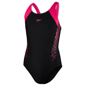 656d55704 Speedo Girls' Boom Splice Muscleback Swimsuit, Black/Pink