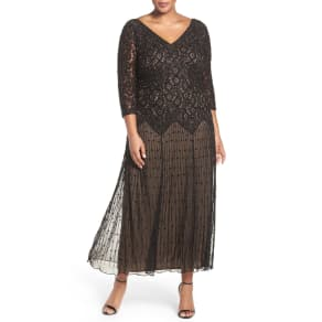 Plus Size Women's Pisarro Nights Beaded V-Neck Lace Illusion Gown