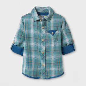 Toddler Boys' Genuine Kids From Oshkosh Long Sleeve Plaid Button Down Shirt - Nautical Blue 12 M