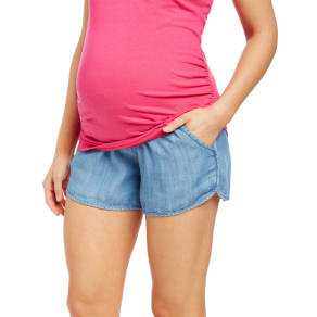 Secret Fit Belly Chambray Maternity Shorts