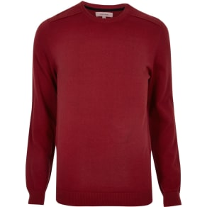 River Island Mens Bright Red Shoulder Seam Jumper
