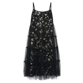 86b2784a0d5 Black Floral Print Mesh Overlay Slip Dress New Look