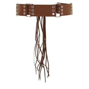 Tan Suedette Eyelet and Tassel Drop Belt New Look