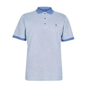 Mens Farah Blue Print Polo Shirt*, Blue