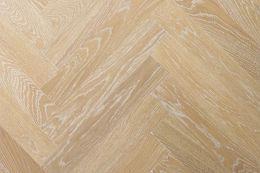 Prime Engineered Oak Herringbone Sunny White Brushed UV Oiled 15/3mm By 97mm By 582mm
