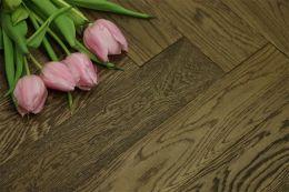 Prime Engineered Flooring Oak Herringbone Smoked Brushed UV Oiled 15/3mm By 90mm By 600mm
