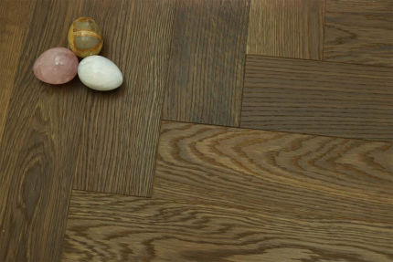 Prime Engineered Flooring Oak Herringbone Dark Smoked Brushed UV Oiled 14/3mm By 97mm By 790mm