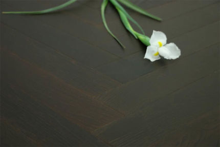 Natural Engineered Flooring Oak Herringbone Black Tea Brushed UV Oiled 15/4mm By 90mm By 630mm