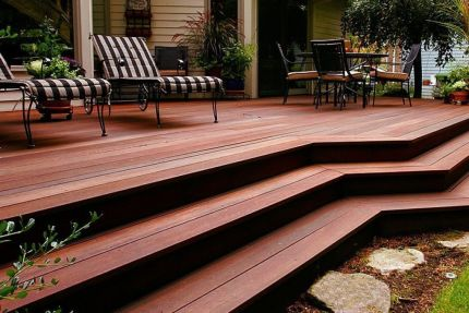 Red Balau Hardwood Decking Boards Reeded Using Hidden Fixing 19mm By 140mm By 4267mm