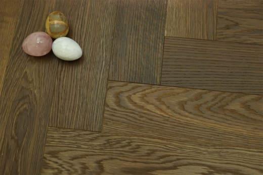 Prime Engineered Flooring Oak Herringbone Dark Smoked Brushed UV Oiled 14/3mm By 97mm By 790mm