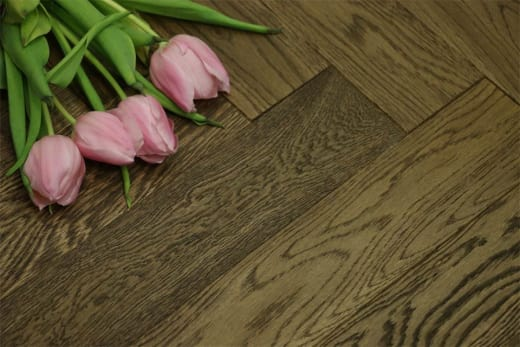 Prime Engineered Flooring Oak Herringbone Smoked Brushed UV Oiled 15/3mm By 90mm By 600mm